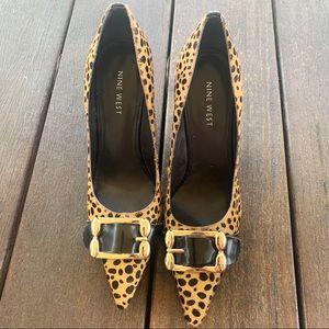 Nine West Cheetah animal print pony hair heels